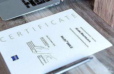 Certifikácia od spoločnosti ZEISS na metódu Relex Smile